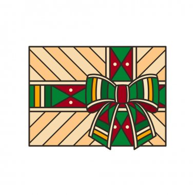 Giftbox in kente style - isolated vector illustration. Kente is traditional african colorful textile, like fabric or ribbons. Also symbol of Kwanzaa, festival of african-american unity icon