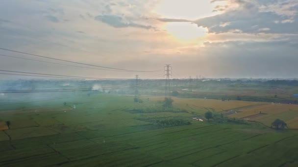 Letecký pohled na nově postavenou elektrickou vysílací věž na zeleném rýžovém poli při západu slunce
