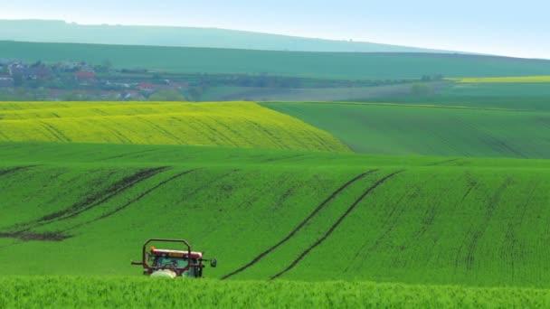 Traktor, zalévání zelená pole