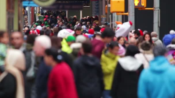 Anonymous Crowd in Times Square. Slow Motion