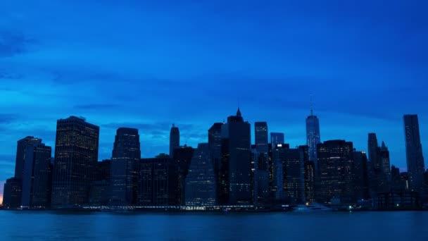 Osvětlení se na Manhattanu jsou světla mrakodrapů. Časová prodleva