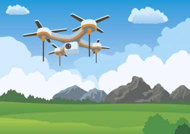 Quadcopter drone flying illustration landscape
