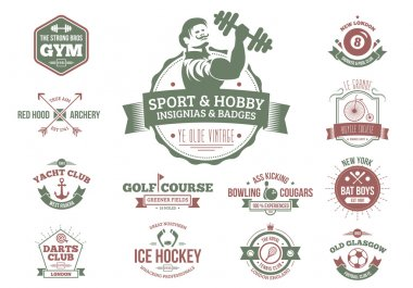 Vintage sport and hobbyist badges and insignia