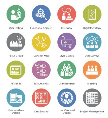 Web Usability & Accessibility Icons Set 1 - Cercle Series