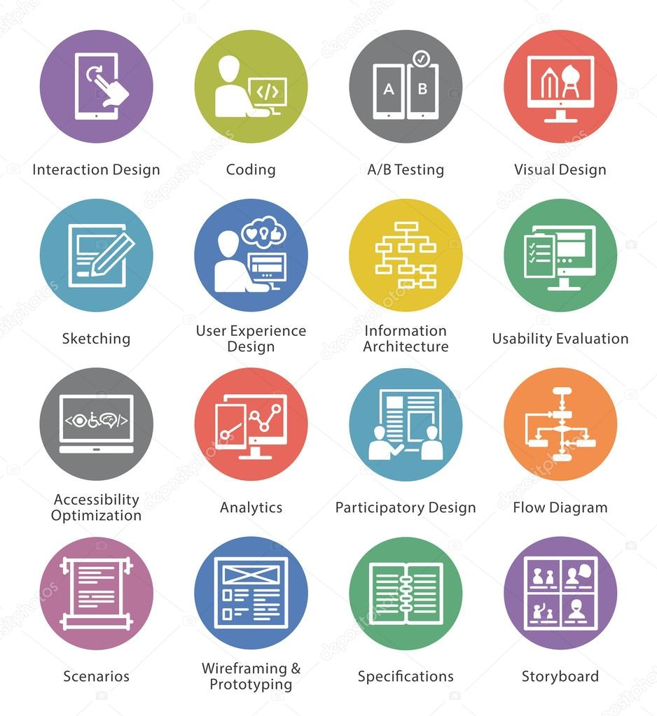 Web Usability & Accessibility Icons Set 2 - Cercle Series