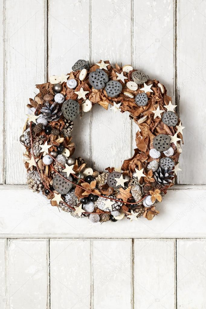 Christmas Door Wreath With Dried Fruits And Leaves Stock Photo