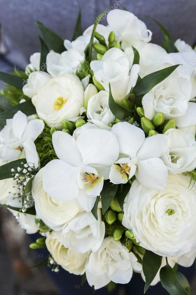 Super Bouquet de fleurs blanches : renoncule, freesia et orchidée @SS_63