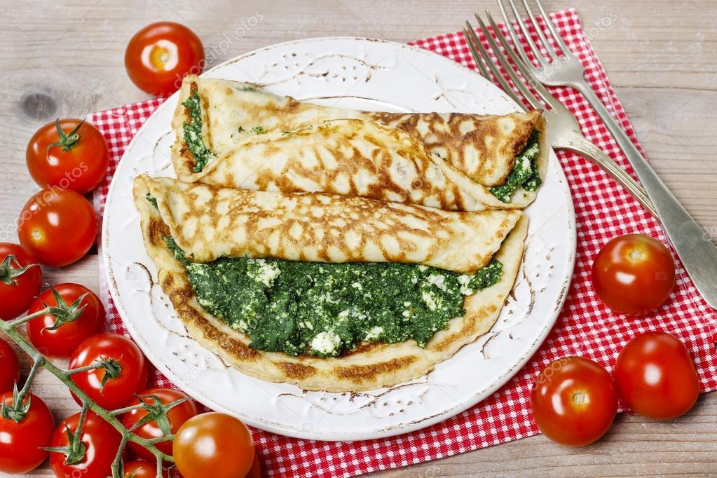 Mediterrane keuken: glutenvrije pannenkoeken gevuld met kaas en
