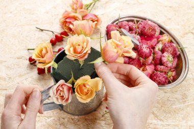 How to make floral arrangement in vintage watering can