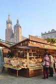 každoroční vánoční trh na hlavním náměstí. Krakov, Polsko
