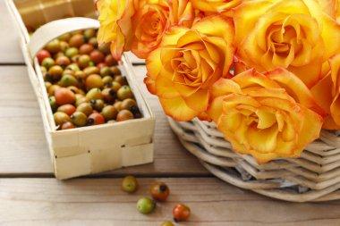 Basket of orange roses