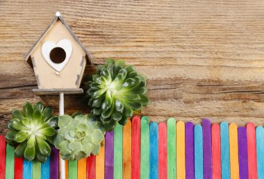 Beautiful wooden house and colorful fence (miniatures)