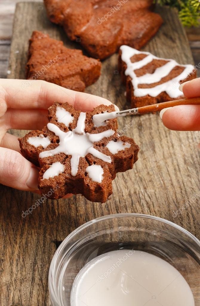 Decorar Galletas De Jengibre Chocolate Navidad Foto De