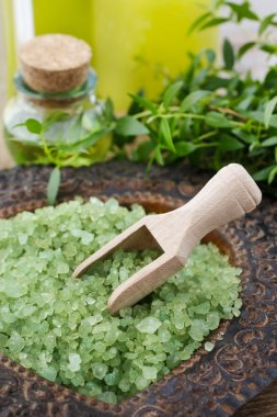 Bowl of green sea salt