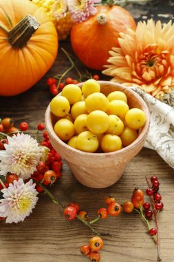 Pot of yellow plums, flowers and pumpkins