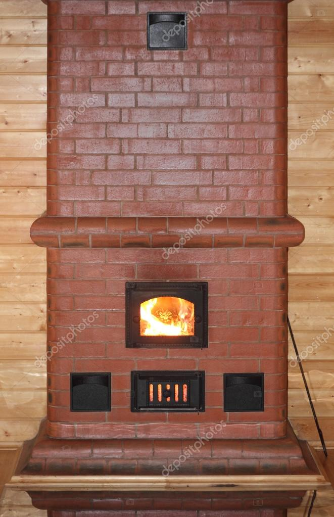 Brick oven with fire in the furnace door phot \u2014 Photo by sergeysikharuli & Brick oven with fire in the furnace door \u2014 Stock Photo ...