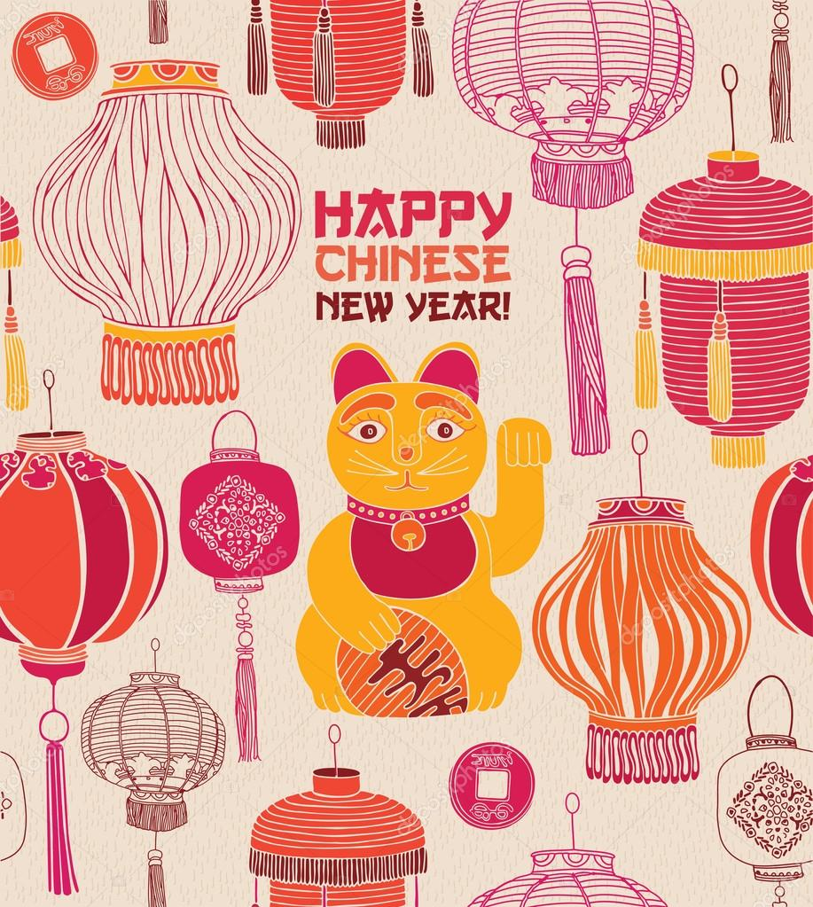 chinese lanterns lucky cat vector vector by zolsssa