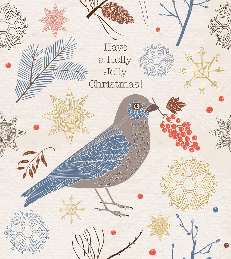 Vintage Christmas card. Bird and berries.