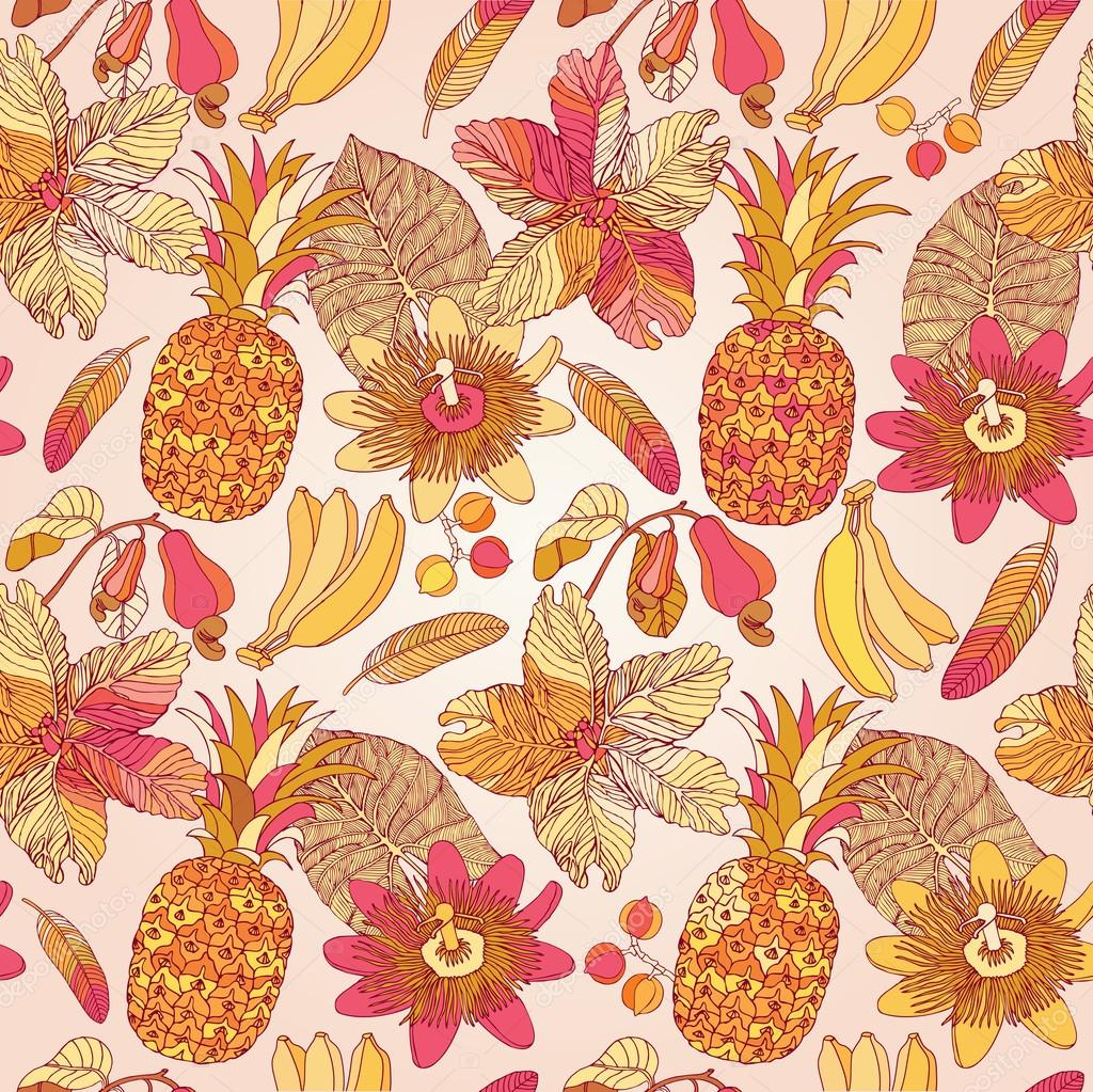 Seamless pattern, tropical flowers.