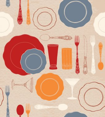 Different tableware. Seamless background.