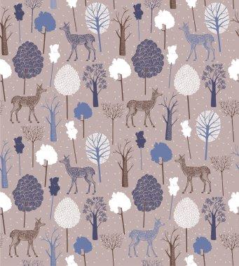 Vintage Christmas pattern. Deer with winter trees.