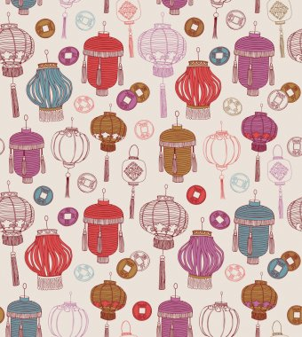 Chinese new year symbols. Seamless pattern.