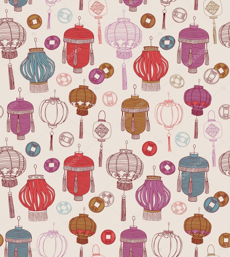 Chinese new year symbols. Seamless pattern.