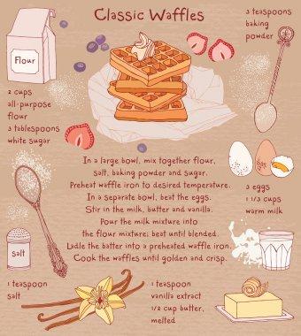 Belgian waffles. Recipe card. Food ingredients.