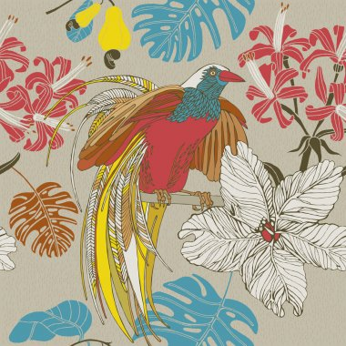Hand draw tropical flowers and birds.