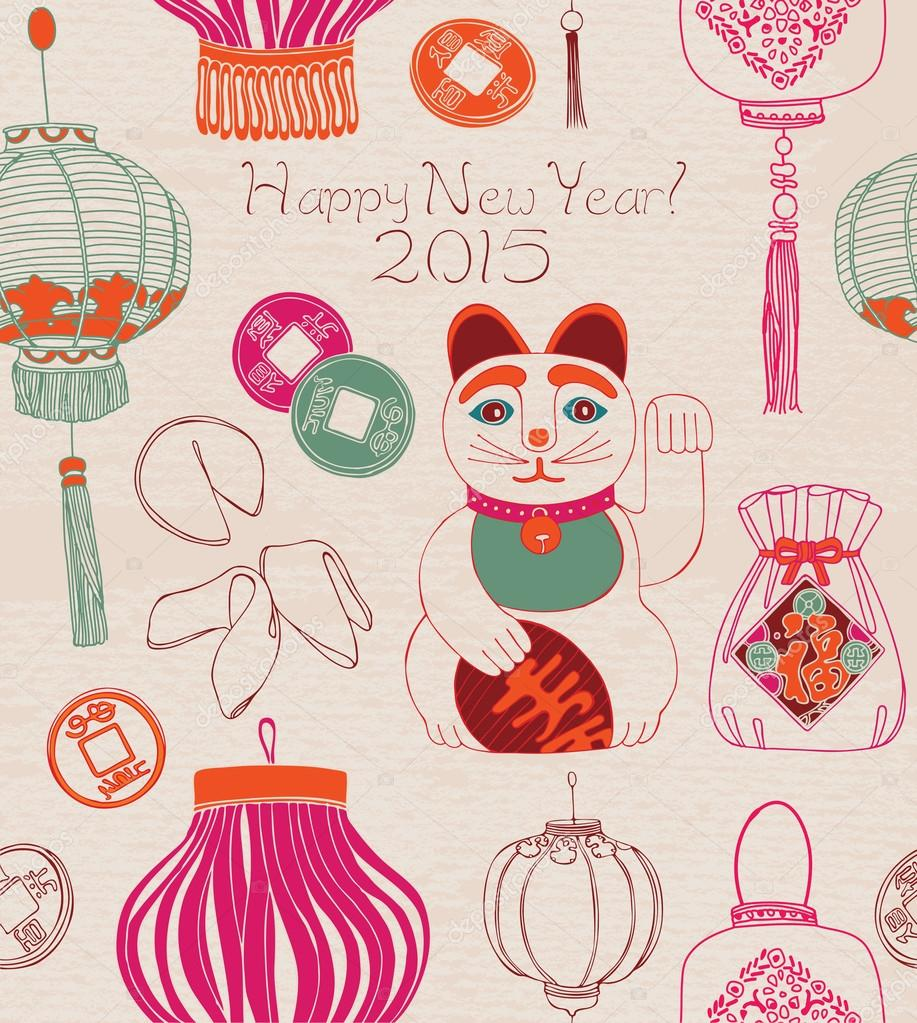 Chinese new year card, lanterns and lucky cat.
