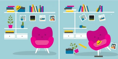 Tidy und untidy room. Living room with armchair and book shelves. Flat design vector illustration.