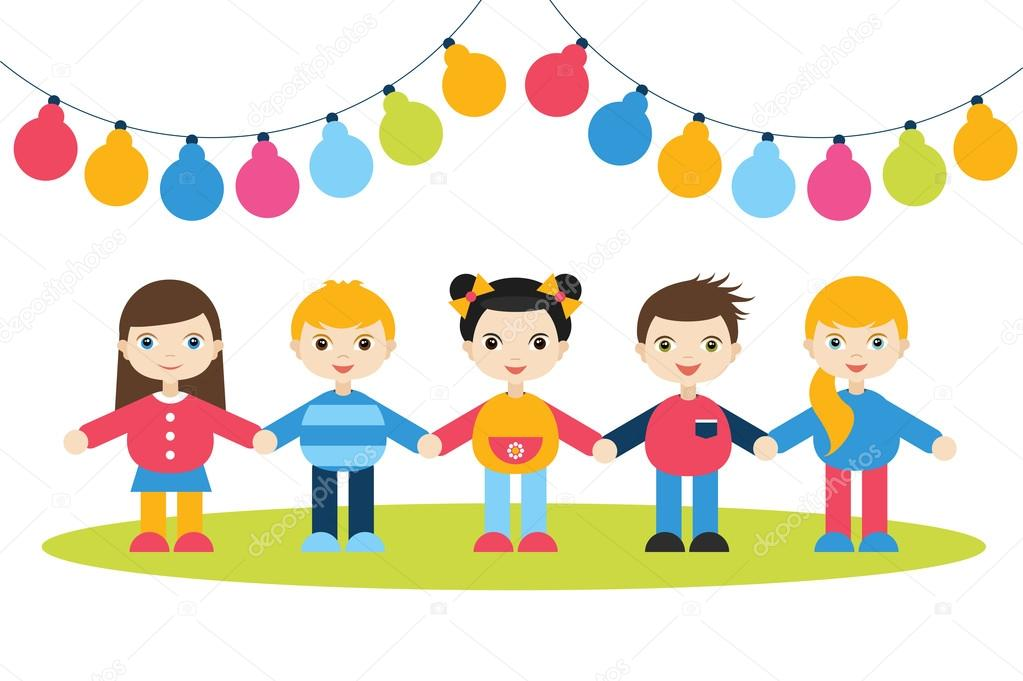 Children holding hands. Cartoon kids figures. Small boys and girls on a white background with color festive flags. Birthday concept.