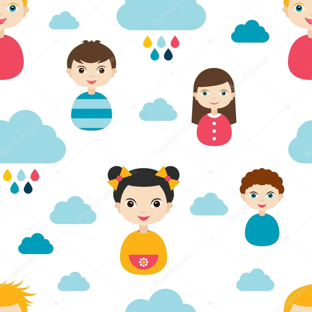 Kids wall paper pattern. Color children smiling faces and clouds.