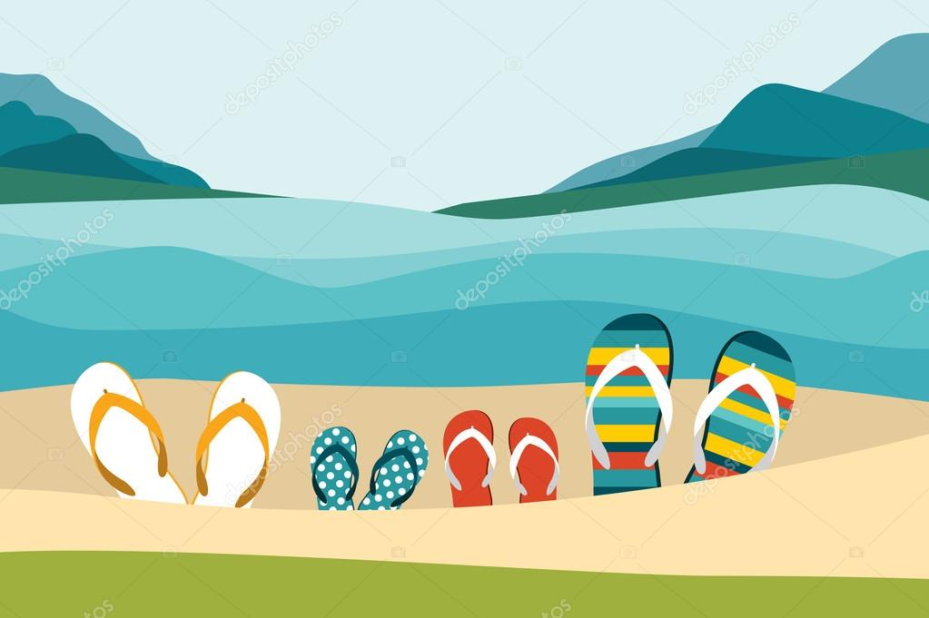 bf782db3d584 Summer beach with color flip flops. Family summer holiday. Flat design  illustration. —