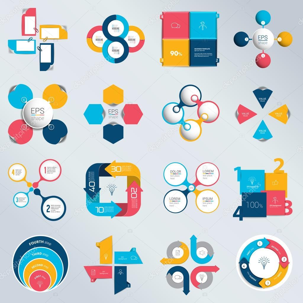 Mega set Geschäftskonzept mit 4 Optionen, Schritte und Prozesse ...
