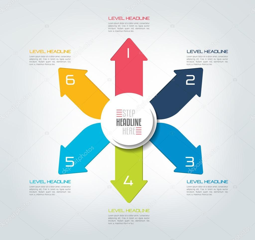 Flechas de color de seis direcciones de diseño gráfico, diagrama ...