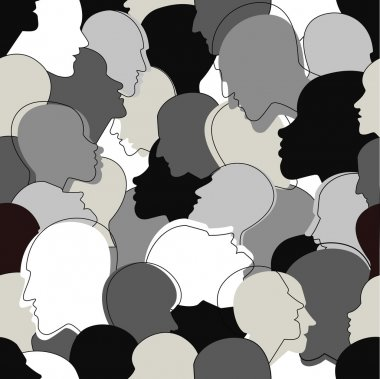 Seamless pattern of a crowd of many different people profile heads from diverse ethnic. Vector background.