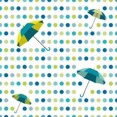Colorful flat repeat wall paper polka dot design. Dancing umbrellas.