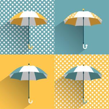 Colored umbrellas. Flat vector sign.