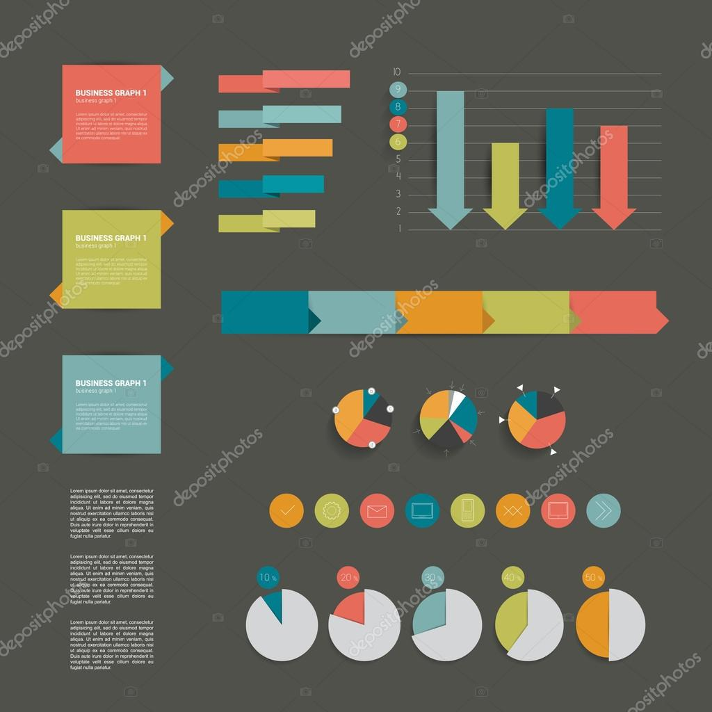 Minimalictic modern infographic folder with diagrams, arrows, speech bubbles and graphs. Flat vector.