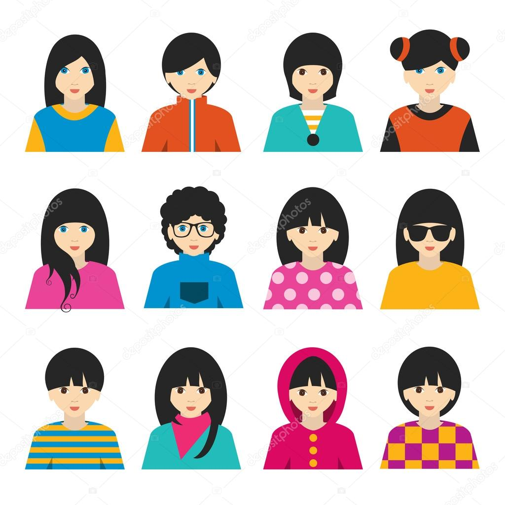 big set of avatars profile pictures flat icons vector illustration