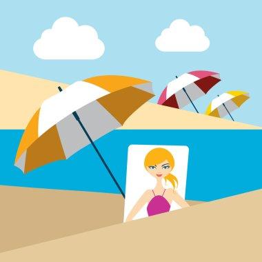 Woman on summer beach. Flat design.