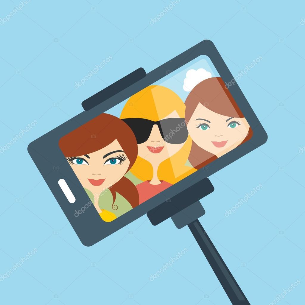 Selfie set photo illustration. Young girls making self portrait. Vector.