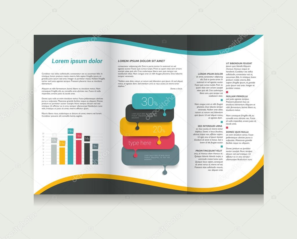 Brochure design template. Tri-fold document.