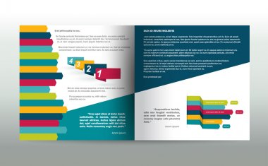 Booklet, flyer page. Magazine layout for infographics. Web template.