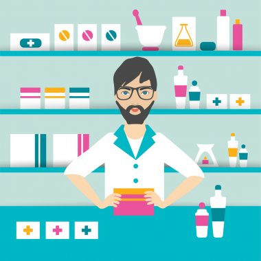 Young pharmacy chemist man standing in drugstore. Flat vector.