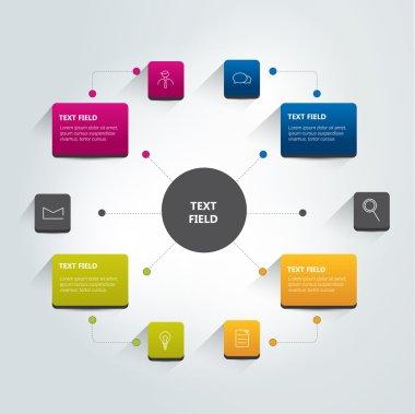 Round flow chart infographics scheme. Vector.