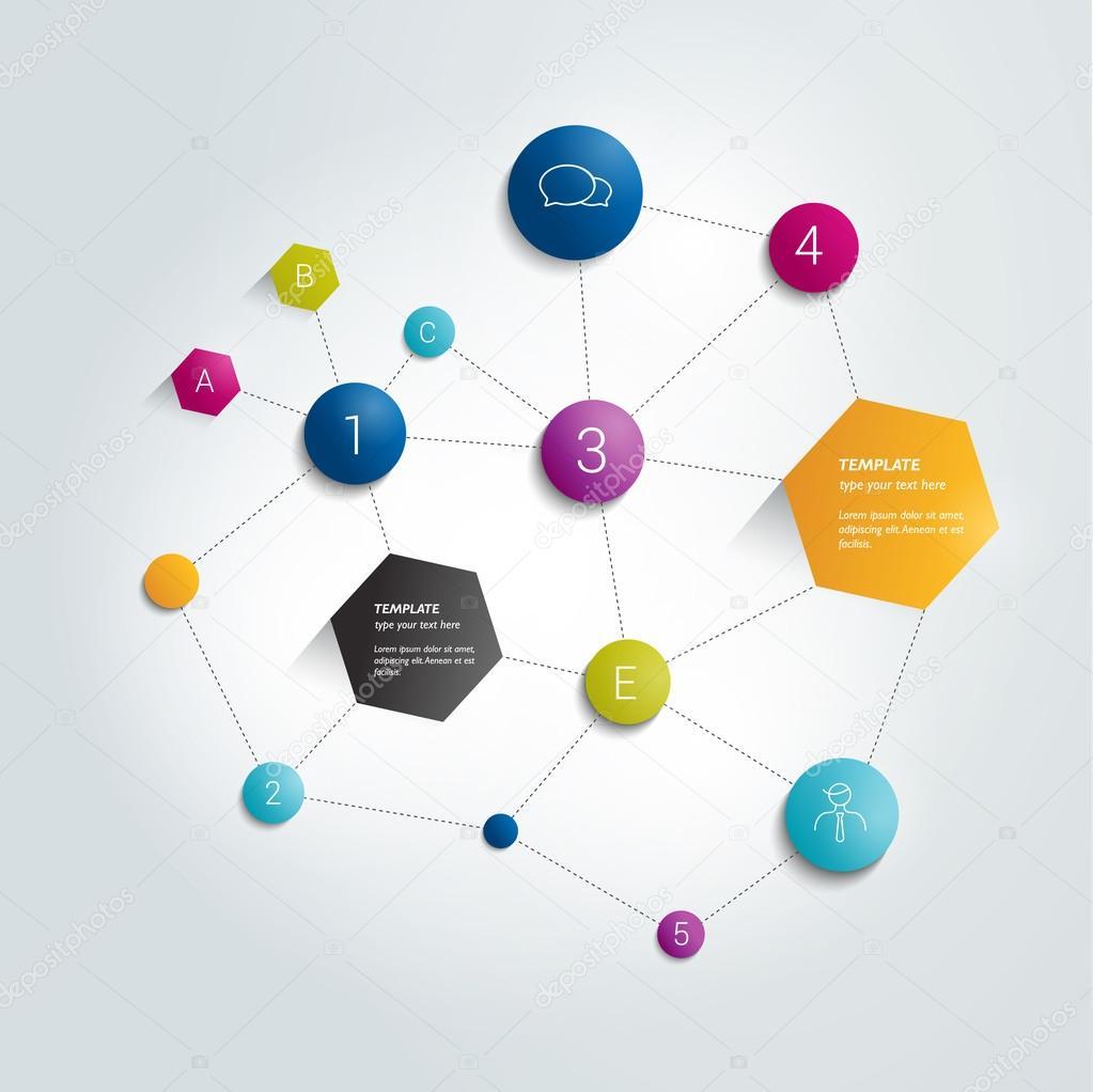 Networt circle flow chart. Infographics flowchart.