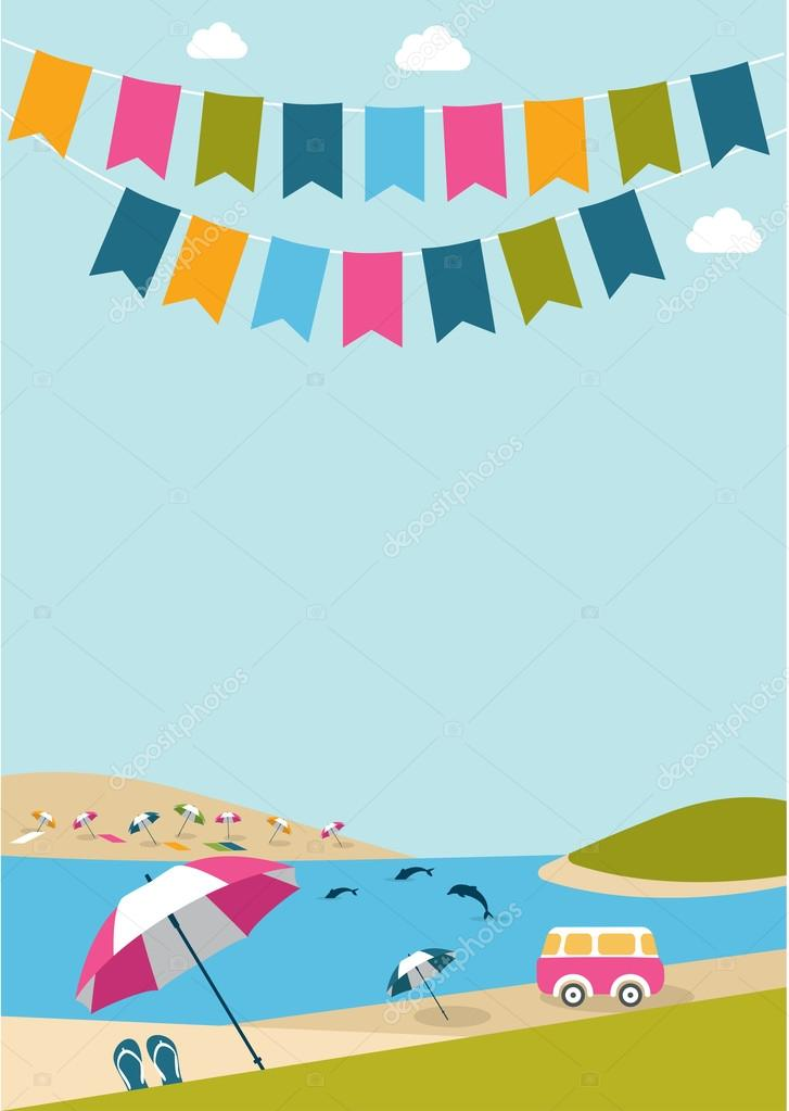 Summer poster with color flags dolphins, van and umbrellas. Festival, party, celebration background. Flat design.