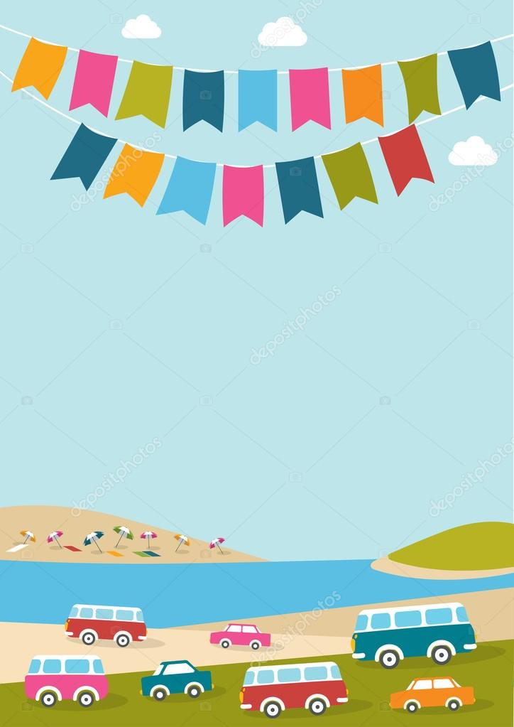 Summer festival, party, music poster with color flags and retro cars, vans, buses. Flat design.